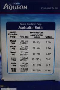 Aqueon Circulation Pump Chart