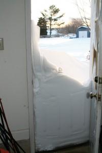 Snow up to the door