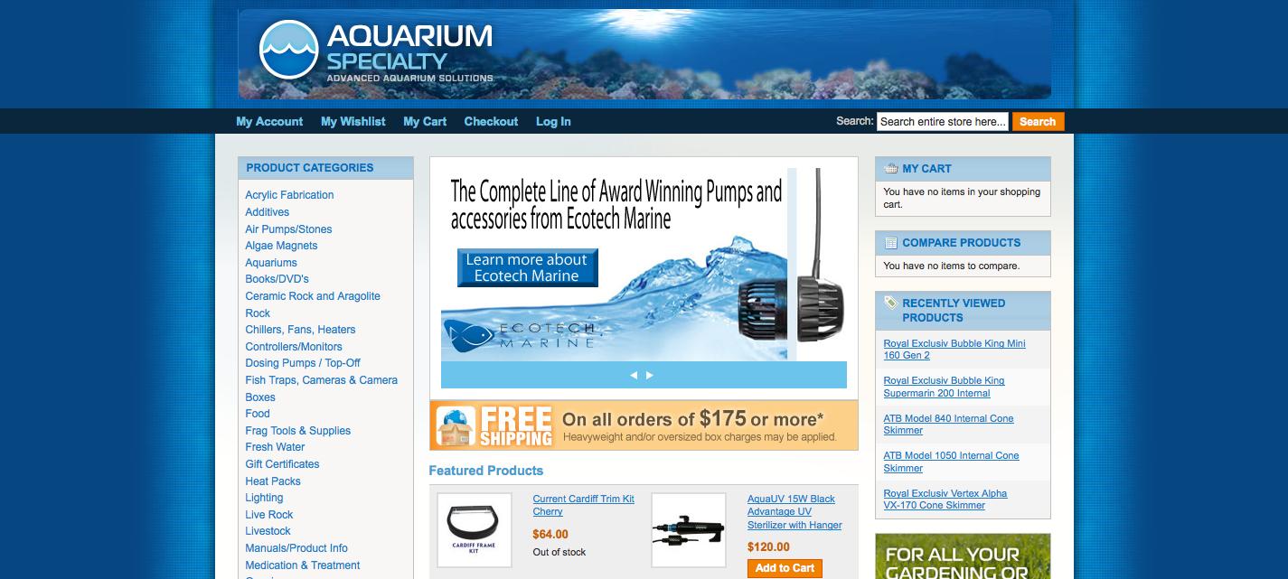 Aquarium specialty gets new website aquanerd for Site aquarium