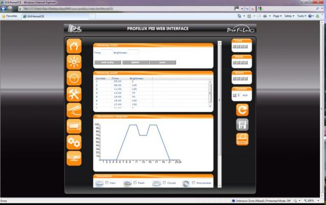 GHL Profilux Web Interface Illumination