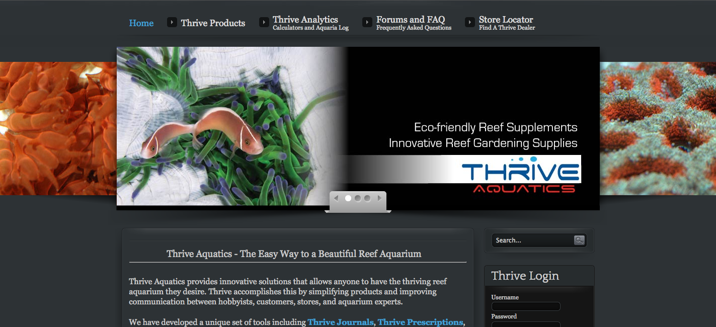 Thrive Aquatics Homepage