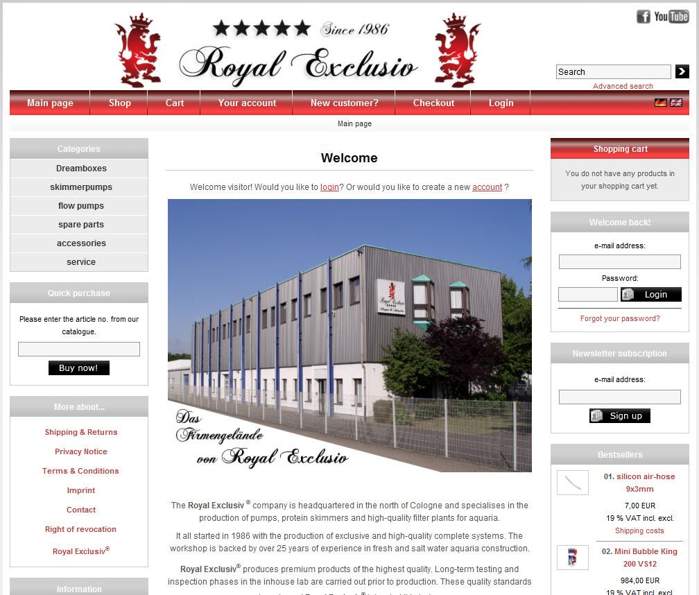 Royal Exclusiv Web Page