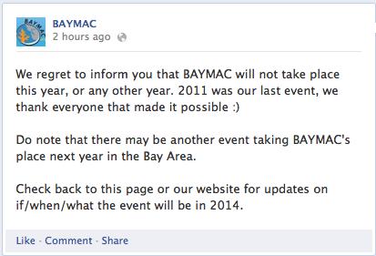 BAYMAC Facebook Announcement