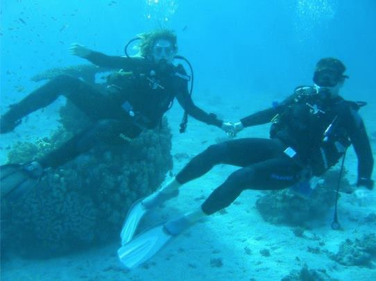 Ariel Freudenthal Diving with Fiance