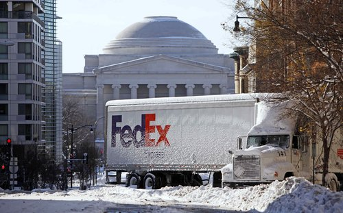 FedEx Truck Stuck in Snow