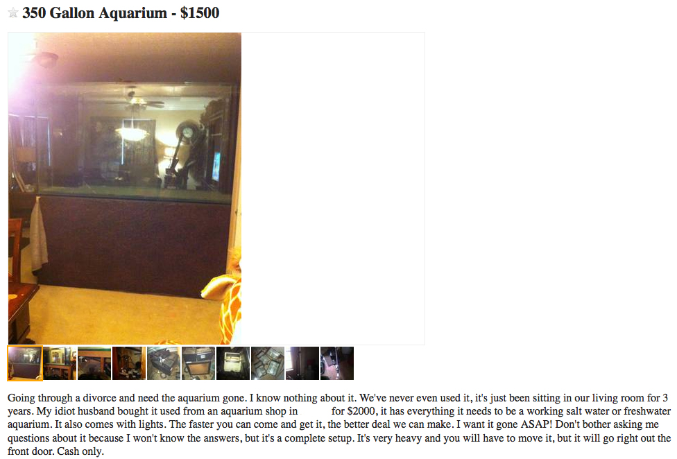 Ex-Wife Sells Aquarium on Craigslist