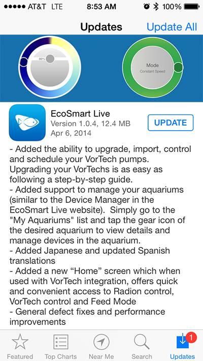 EcoSmart Live App with VorTech Control