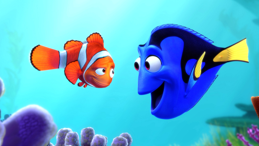 "Marlin the clown fish and Dory the blue tang fish (l-r) in scene from movie ""Finding Nemo."" (AP)"